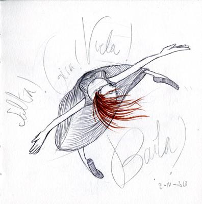 """""""Bailar"""" imagen cedida por @Mirilustra http://miriamrodriguezilustradora.blogspot.com.es/"""