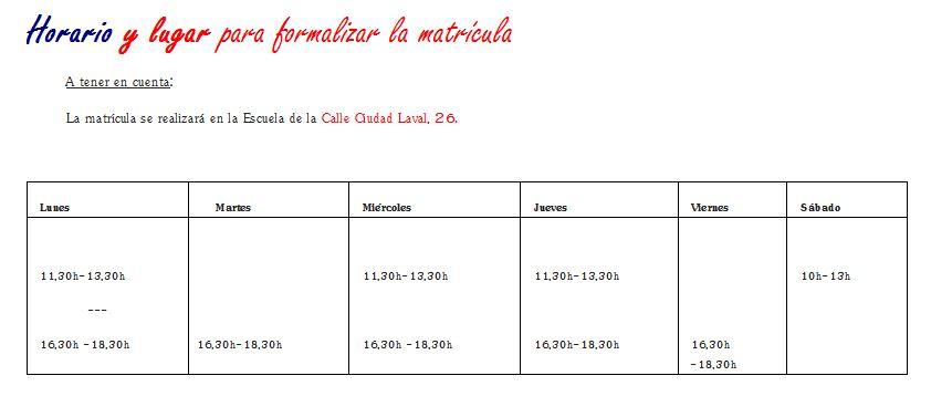 Horario matrícula curso 2014-2015