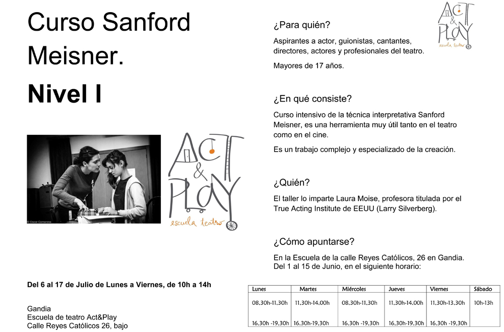 Curso Sanford Meisner Nivel I