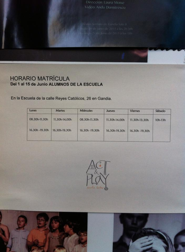 Horario matrícula escuela teatro Act and Play